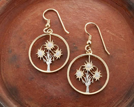 Austrian Edelweiss Flower Earrings, Austrian One Shilling Coin Hand cut, 14 Karat Gold and Rhodium plated