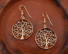 Tree Of Life Earrings,Hand Cut Tree Of Life earrings,14 Karat Gold and Rhodium Plated