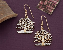 Tree Of Life Earrings, South Pacific Island of Niue Coin Hand Cut, 14 Karat Gold and Rhodium Plated