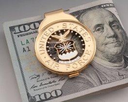 "Air Force Money Clip, Hand cut United States Air Force Money Clip, Air Force Challenge coin gifts, 1 1/2"" diameter, ( # AFSCM )"