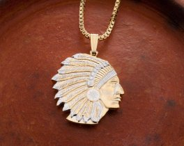 "American Indian Pendant and Necklace, Military Challenge Coin Hand Cut, 14 Karat Gold and Rhodium Plated, 1"" in Diameter, ( # 682B )"