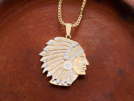 """American Indian Pendant and Necklace, Military Challenge Coin Hand Cut, 14 Karat Gold and Rhodium Plated, 1"""" in Diameter, ( # 682B )"""