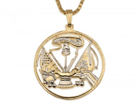 "Army Military Pendant and Necklace, Army Challenge Coin hand Cut, 14 Karat Gold and Rhodium Plated, 1"" in Diameter, ( # 756 )"