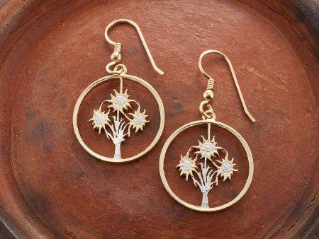 "Austrian Edelweiss Flower Earrings, Austrian One Shilling Coin Hand cut, 14 Karat Gold and Rhodium plated, 3/4"" in Diameter, ( # 11E )"