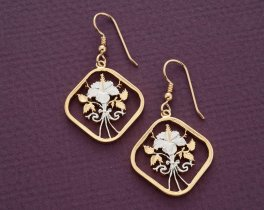 """Bahamas Hibiscus Coin earrings, Bahama 15 Cent Hibiscus Coin Hand Cut, 14 Karat Gold and Rhodium Plated,  1"""" in Diameter, ( # 18E )"""