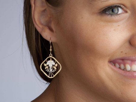 "Bahamas Hibiscus Coin earrings, Bahama 15 Cent Hibiscus Coin Hand Cut, 14 Karat Gold and Rhodium Plated,  1"" in Diameter, ( # 18E )"