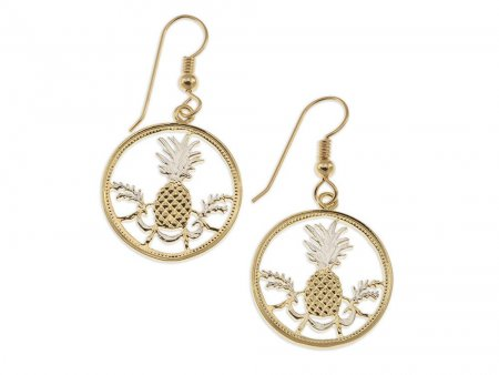 "Bahamas Pineapple Earrings, Bahamas 5 cents Coin Hand Cut, 14 Karat Gold and Rhodium plated, 3/4"" in Dia. 14K Gold Filled Wires, ( # 15E )"