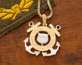 "Coast Guard Pendant and Necklace, Coast Guard Challenge Coin Hand Cut, 14 K Gold and Rhodium Plated, 1 1/8 "" in Diameter, ( # 791 )"