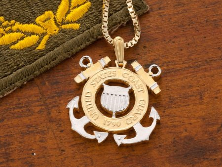 """Coast Guard Pendant and Necklace, Coast Guard Challenge Coin Hand Cut, 14 K Gold and Rhodium Plated, 1 1/8 """" in Diameter, ( # 791 )"""
