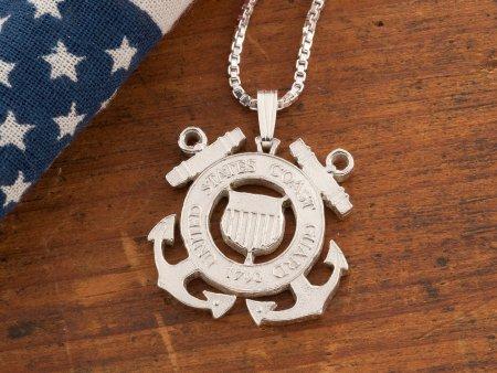 Coast Guard Pendant, Coast Guard Jewelry, Military Jewelry, Mens Necklace, Military Gifts, Pendant Necklace, Coast Guard Gifts, ( # 791S )