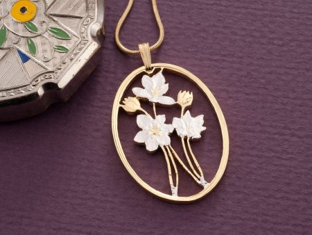 Daffodil Pendant, Daffodil Necklace, Floral Pendant, Floral Necklace, Nature Jewelry, Turkish Coin Jewelry, Womans Jewelry, ( # 825 )