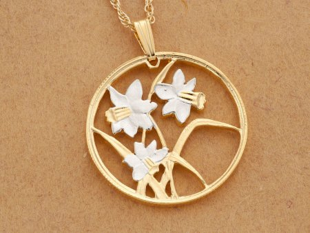 "Daffodils Pendant and Necklace, Canada 50 Cents Coin Hand Cut, Canadian Coin Jewelry, Flower Jewelry,  1 1/8"" in Diameter, ( # 796 )"