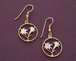 "Easter Lily Coin Earrings, Bermuda Ten Cents Easter Lily Coin Hand Cut, 14 Karat Gold and Rhodium Plated, 3/4"" in Diameter, ( # 35E )"
