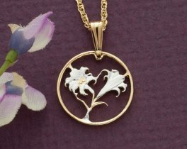"""Easter Lily Pendant and Necklace, Bermuda 10 cents Coin Hand Cut, 14 Karat Gold and Rhodium Plated .75"""" in Diameter, ( # 35 )"""
