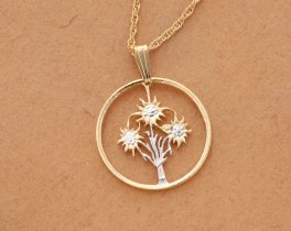 Edelweiss Flower Pendant and Necklace, Austrian Coin Hand Cut, Austria Coin Jewelry, Flower Jewelry, Womans Jewelry, Floral Gifts   ( # 11 )