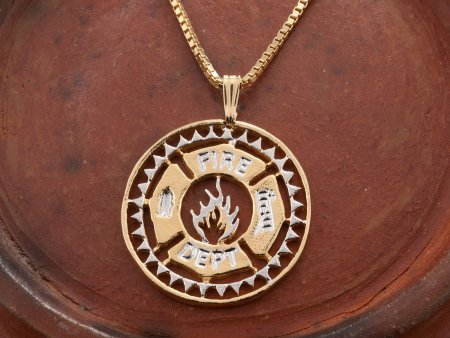 """Firemens Maltese Cross Pendant and Necklace, Hand Cut Firemens Medallion, 14 K Gold and Rhodium Plated, 1 1/8"""" in Diameter, ( # 851 )"""
