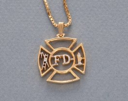 "Firemens Maltese Cross Pendant and Necklace, Private Mint Maltese Cross hand Cut, 14 K Gold and Rhodium Plated, 1 1/8"" in Dia. ( # 630 )"