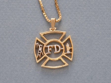 """Firemens Maltese Cross Pendant and Necklace, Private Mint Maltese Cross hand Cut, 14 K Gold and Rhodium Plated, 1 1/8"""" in Dia. ( # 630 )"""