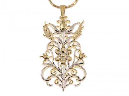 "Flower and Wheat Pendant and Necklace Hand Cut, 14 Karat Gold and Rhodium Plated, 1 5/8th"" Diameter, ( # 612 )"