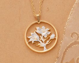 "Flower Pendant and Necklace, Canada One Dollar Hand Cut, 14 Karat Gold and Rhodium Plated, 1 1/4 "" in Diameter, ( # 580 )"