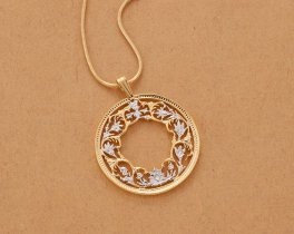 "Flower Pendant and Necklace, India One Rupee Coin Hand Cut, 14 Karat Gold and Rhodium plated, 1 1/8"" in Diameter, ( # 569 )"