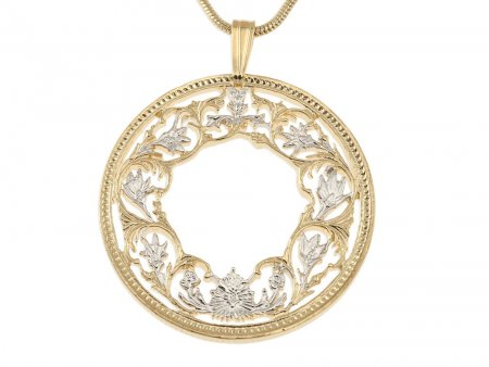"""Flower Pendant and Necklace, India One Rupee Coin Hand Cut, 14 Karat Gold and Rhodium plated, 1 1/8"""" in Diameter, ( # 569 )"""