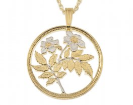 "Flower Pendant and Necklace, Malta 25 Cents Coin Hand Cut, 14 Karat Gold and Rhodium Plated, 1"" in Diameter, ( # 797 )"