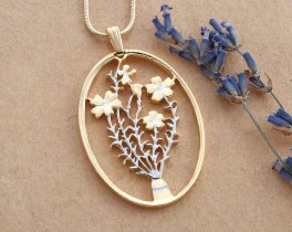 """Flower Pendant, Hand cut Turkish Flower coin pendant, Floral Jewelry, Flower Jewelry, 1 1/2"""" in length, ( # 808 )"""