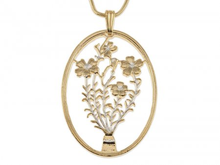 "Flower Pendant, Hand cut Turkish Flower coin pendant, Floral Jewelry, Flower Jewelry, 1 1/2"" in length, ( # 808 )"