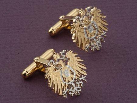 German Eagle Cufflinks, German One Mark Coin Cufflinks, German Coin Jewelry, German Eagle Jewelry, Mens Cufflinks, (  # 114C )