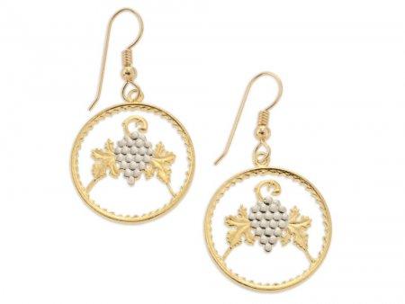 "Grape and Grape Leaves Earrings, Cyprus Coin Hand Cut, Wine Lovers Earrings, Wine Gifts, Floral Earrings,  7/8"" in Diameter, ( # 719E )"