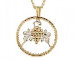 "Grapes and Grape Vine Pendant and Necklace, Cyprus 50 Mils Coin Hand Cut, .80"" in Diameter, ( # 719 )"