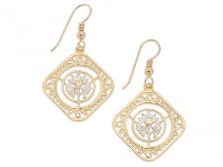 Hibiscus Flower Earrings, St. Martin Coin Jewelry,Hand Cut Coin Jewelry, Flower Earrings, Floral Gifts, Flower Jewelry, ( # 234E )