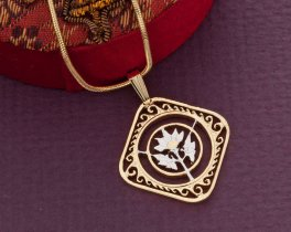"Hibiscus Flower Pendant and Necklace, Hand Cut St. Martin Carribean Hibiscus Coin, 7/8"" in Diameter, ( # 234 )"