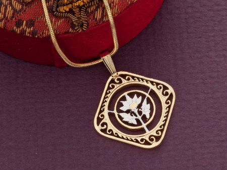 """Hibiscus Flower Pendant and Necklace, Hand Cut St. Martin Carribean Hibiscus Coin, 7/8"""" in Diameter, ( # 234 )"""