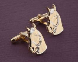 Horse Cuff Links, Equine Cuff Links, Horse Jewelry. Mens Horse Jewelry, Equine Jewelry, World Coin Jewelry, Coin Cuff Links, ( # 694C )