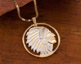 "Indian Chief Pendant and Necklace, Military Challenge Coin Hand Cut, 14 Karat Gold and Rhodium Plated, 1 1/8"" in Diameter, ( # 682 )"