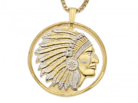 """Indian Chief Pendant and Necklace, Military Challenge Coin Hand Cut, 14 Karat Gold and Rhodium Plated, 1 1/8"""" in Diameter, ( # 682 )"""