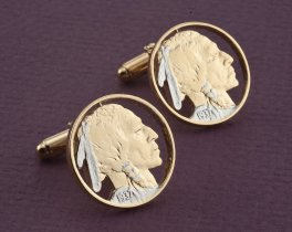 Indian Head Nickel Cuff Links, Indian Head Nickel Jewelry, United States Coin Jewelry, World Coin Jewelry, Coin Cuff Links, ( # 309C )