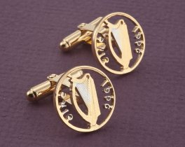 Irish Harp Cuff Links, Ireland Coin Jewelry, Irish Cuff Links, Irish Harp Jewelry, Irish Mens Gifts, Mens Cuff Links, Cuff Links, ( # 159C )