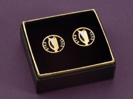 Irish Harp Cuff Links, Ireland Coin Jewelry, Irish Cuff Links, Irish Harp Jewelry, Irish Mens Gifts, Mens Cuff Links, Cuff Links, ( # 159C )