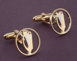 Irish Harp Cuff Links, Irish Harp Jewelry, Irish Coin Jewelry, Irish Gift Ideas, Mens Jewelry, Mens Cuff Links, Irish Jewelry, ( # 164C )