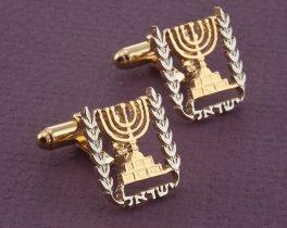 Israel Cuff Links, Menorah Cuff Links, Israel Coin Jewelry, Menorah Jewelry, Hebrew Cuff Links, Hebrew Jewelry, Hebrew Gifts, ( # 188C )