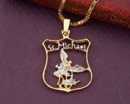 Law Enforment Pendant, Law Enforcement Jewelry, St Michael Pendant, Police Graduation Gifts, St Michaels Jewelry, Coin Jewelry, ( # 842B )