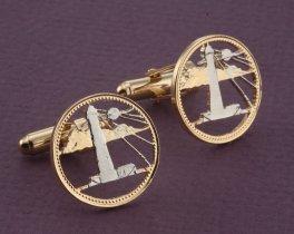 "Lighthouse Cufflinks, Lighthouse Mens Jewelry, Barbados Cuff Links, Nautical Cuff Links, World Coin Jewelry, 7/8"" diameter, ( # 26C )"