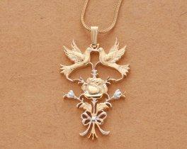 "Love Birds Pendant & Necklace, Hand Cut Silver Medallion, 14 Karat Gold and Rhodium Plated, 1 1/4"" Diameter, ( # 586 )"