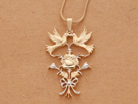 "Love Birds Pendant & Necklace, Hand Cut Silver Medallion, 14 Karat Gold and Rhodium Plated, 1 1/4"" Diameter, ( # 586 )"