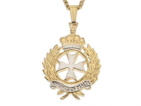 "Maltese Cross Pendant and Necklace, Order Of Malta Cross Coin Hand Cut, 14 Karat Gold and Rhodium Plated, 1"" in Diameter, ( # 927 )"