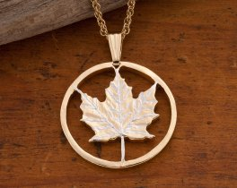 Maple Leaf Pendant, Maple Leaf Jewelry, Canadian Coin Jewelry, Maple Leaf Necklace, Cut Coin Pendant, World Coin Jewelry, ( # 747 )