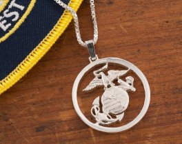 Marine Corp Pendant, Marine Corp Jewelry, Marine Corp Gifts, Miliatry Gifts, Military Jewelry, Coin Jewelry, Coin Necklace, ( # 792S )